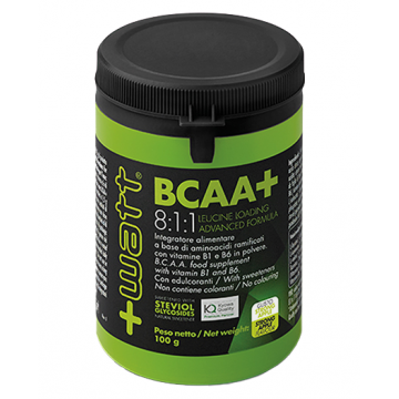 BCAA+ 8:1:1 LEUCINE LOADING ADVANCED FORMULA GUSTO STRONG APPLE 100 GRAMMI AMINOACIDI ESSENZIALI