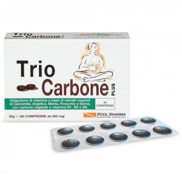 TRIO CARBONE PLUS 40 COMPRESSE INTEGRATORE BENESSERE INTESTINALE