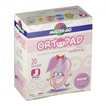 ORTOPAD BENDE OCCHI GIRLS JUNIOR 20 OCCLUSORI COTONE MASTER-AID